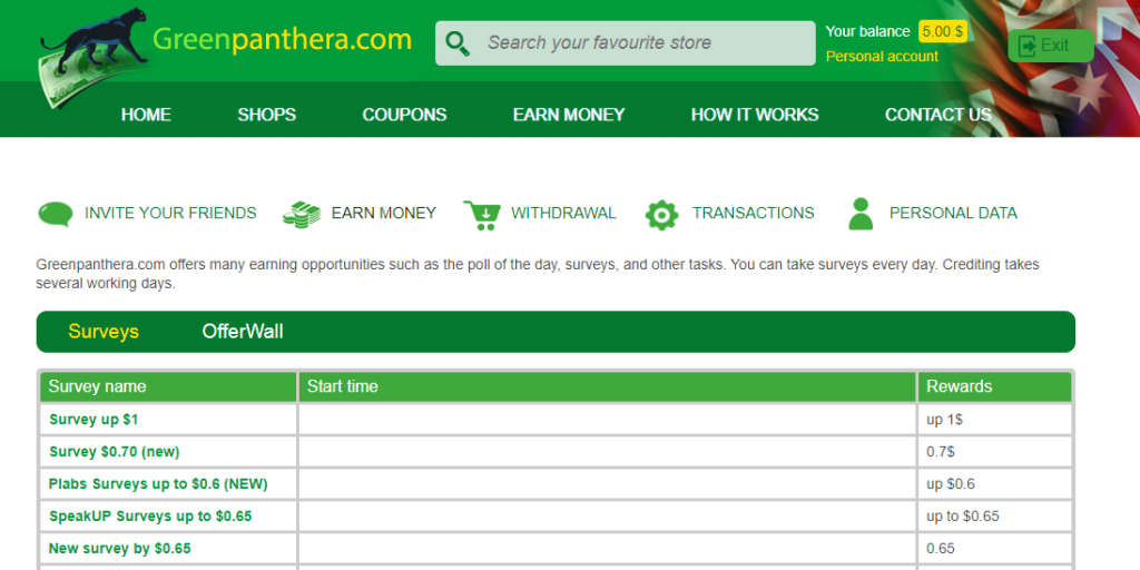 Greenpanthera survey website